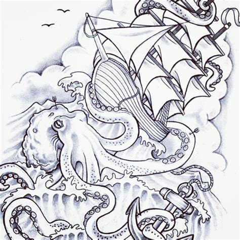 boat and octopus drawing black ink pirate ship tattoo design for forearm