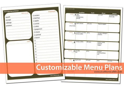 free customizable printable menu planner meal planning