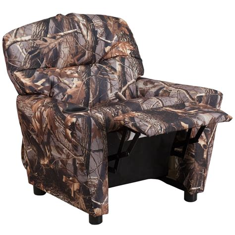 camouflaged fabric recliner with cup