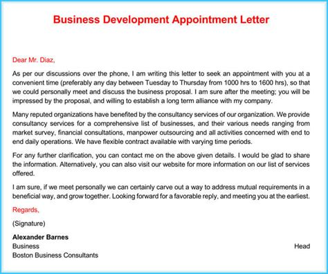 business appointment letter  sample letters  writing