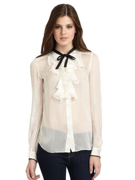 White Sheer Silk Blouses For Women   dolce gabbana sheer ruffled silk blouse in white lyst