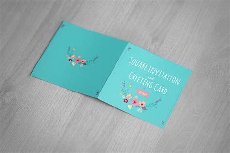 realistic greeting card template psd square invitation greeting card mockup free design