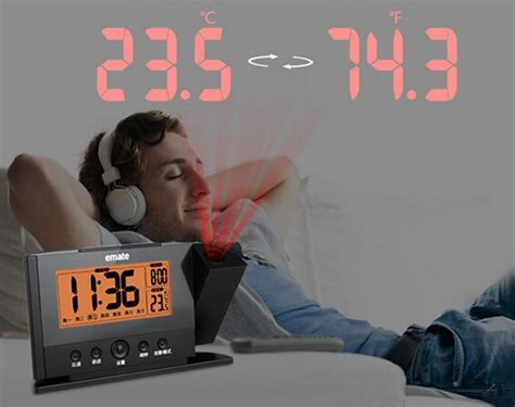 alarm clocks that project time on ceiling projection alarm clock projecting to wall ceiling display weekday temperature orange backlight