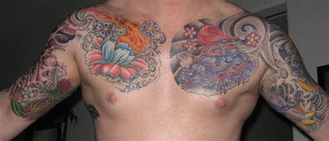 flower chest tattoo and flaming lotus flower chest