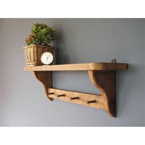 Handmade Wood Shelves - country kitchen shelf with wooden pegs