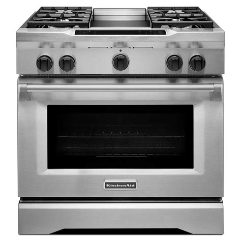 Kitchenaid 36 Dual Fuel Range by Kitchenaid Commercial Style 36 In 5 1 Cu Ft Slide In