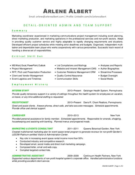 marketing project coordinator resume sle marketing communications events coordinator resume