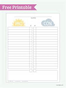Pro Con List Template by Pro Vs Con Free Printable Pdf Hhhmmmm