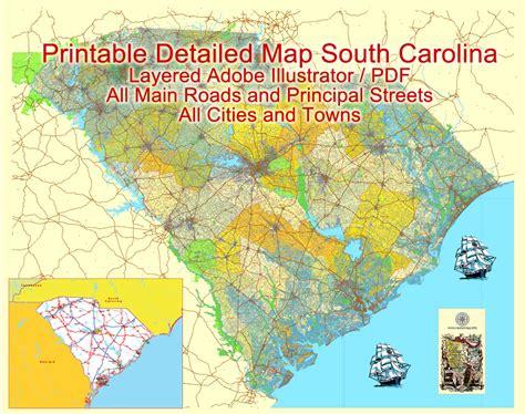 south carolina map map south carolina printable vector detailed road