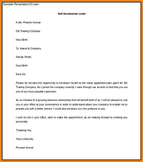 self introduction letter template 7 sle of self introduction letter introduction letter