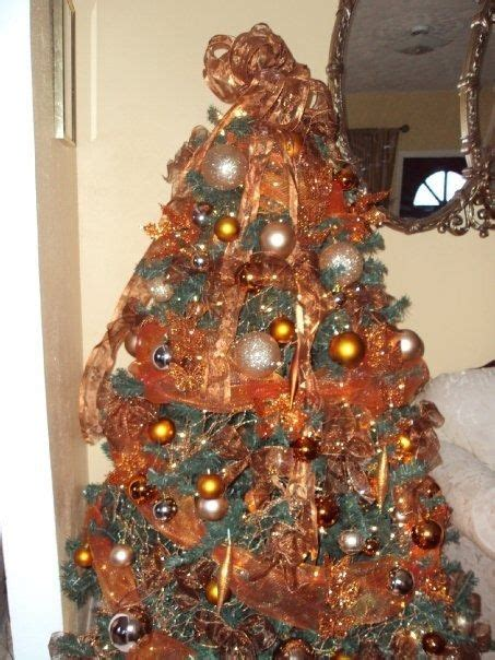 burnt orange and brown tree christmas tree decoration