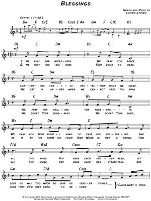 printable lyrics laura story blessings laura story quot blessings quot sheet music download print