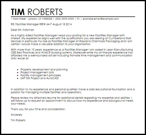 Facilities Manager Cover Letter Sample   LiveCareer