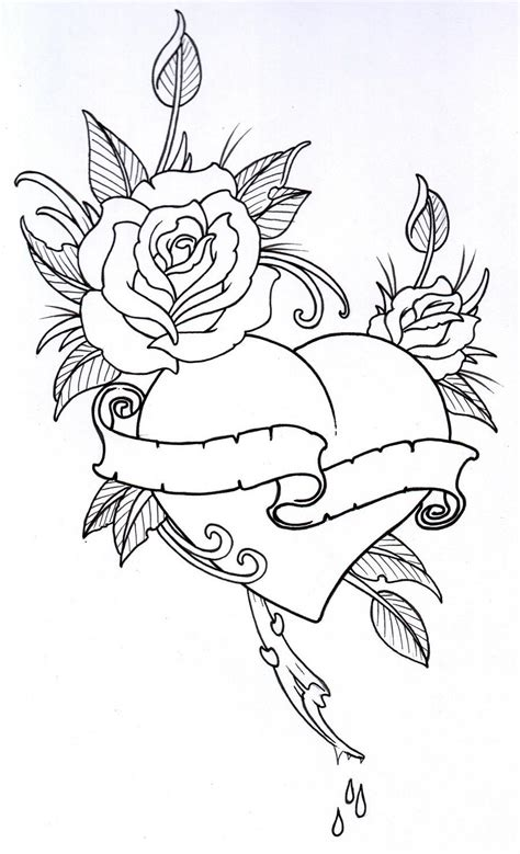 tattoo 3d zeichnen roseheart outline 1 by vikingtattoo deviantart com on