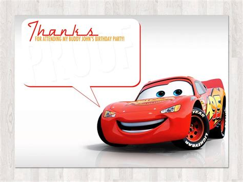 Automobile Thank You Card Template Free by Disney Cars Thank You Cards Disney Cars Birthday Thank