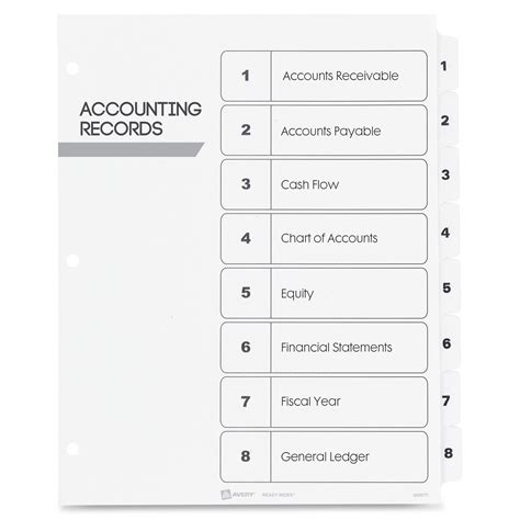 Avery Index Dividers Classic 1 8 Tab Blk Wht Ld Products Avery Table Of Contents Template