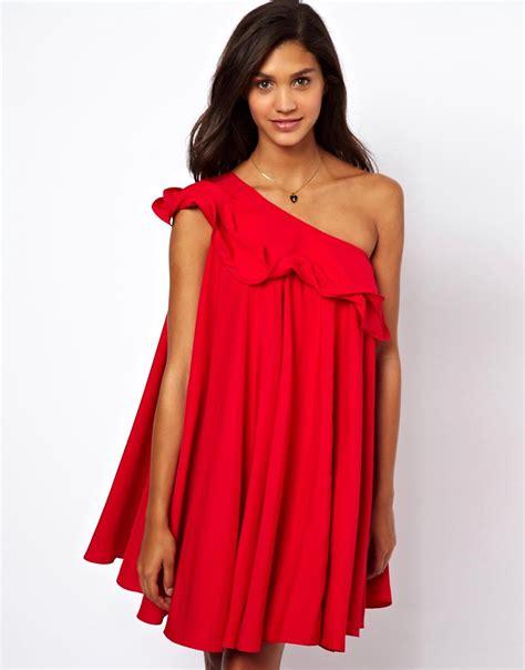 Asos Asos One Shoulder Ruffle Swing Dress At Asos