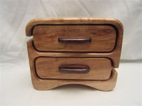 Brown Maple With Walnut Pulls Two Drawer With Hidden By