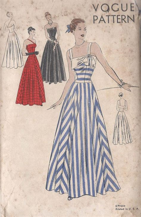 pinterest gown pattern vintage 1950 s misses evening gown by cottagelanetreasures