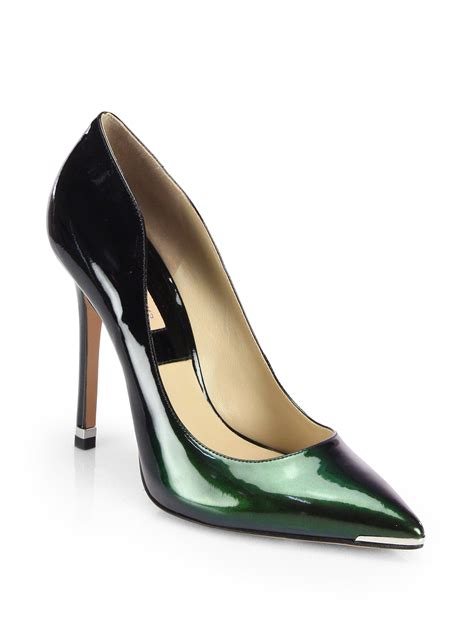 Patent Pumps lyst michael kors avra patent leather pumps in green
