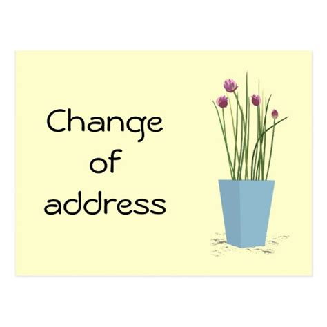 chives change of address card template postcard zazzle