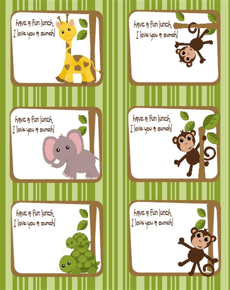 printable jungle labels kids labels in a jungle gym theme by shysocialites very
