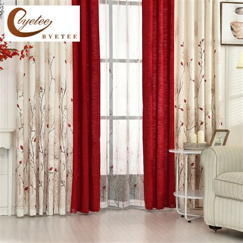 red and white curtain panels aliexpress com buy byetee beige red stitching cotton