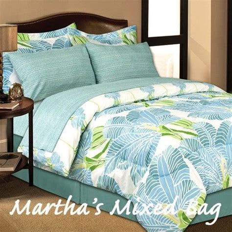 beach comforter set tropical beach blue lime palm tree leaves king queen sizes