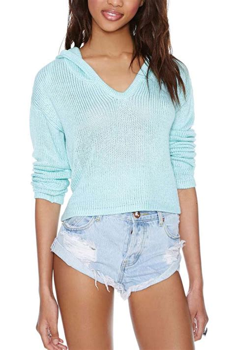 Lace Up Vneck Ruffle Knitted Sweater Series Sweater Knitsweater light blue v neck knitted hooded pullover sweater 013909