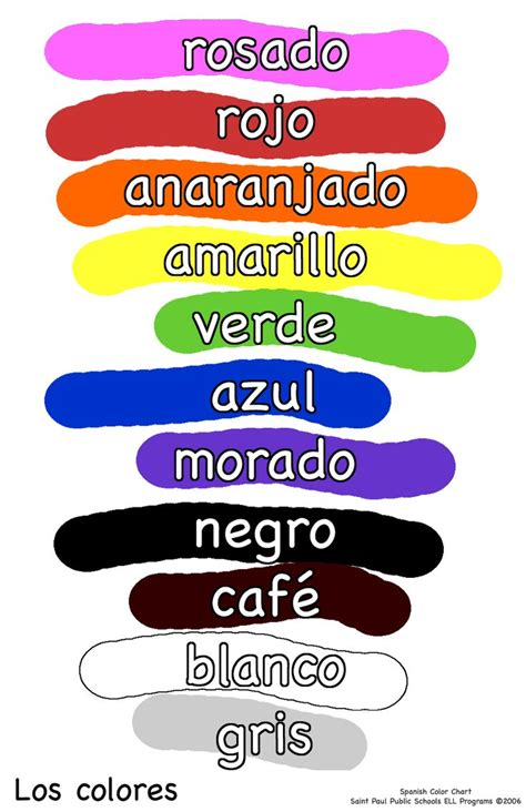Color In Spanish | spanish color chart preschool pinterest spanish