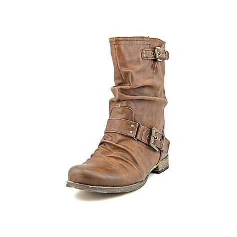 carlos santana faux leather brown mid calf