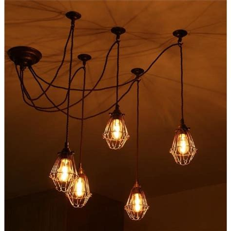 Pendant Cluster Ceiling Light With 5 Industrial Style Cage Cluster Ceiling Lights