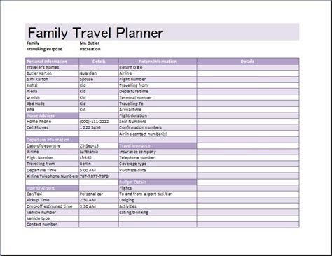 ms excel family travel planner template word excel