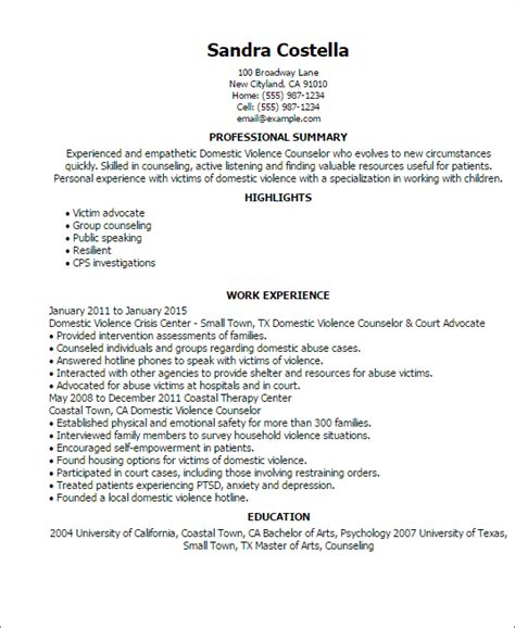 Domestic Violence Counselor Cover Letter 1 domestic violence counselor resume templates try them now myperfectresume