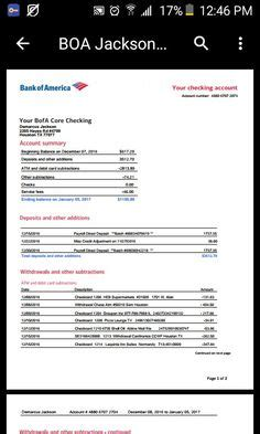 Bank Of America Credit Card Statement Template