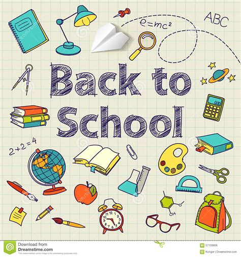 doodle ending back to school text end vector doodle stock vector image