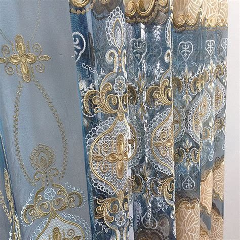 Blue And Gold Curtains Classical Light Gold Royal Blue Lace Chenille Curtains