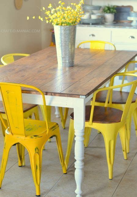 Yellow Kitchen Table Best 20 Farmhouse Tabletop Ideas On Refurbished Dining Tables Painted Farmhouse