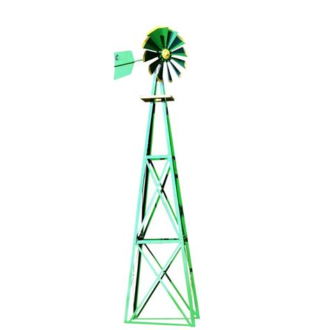 Decorative Windmills For Homes 138 In Large Green And Yellow Powder Coated Backyard Windmill Byw0129 The Home Depot