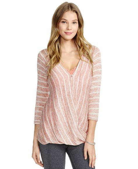 draped tops jessica simpson nursing striped draped top in pink lyst