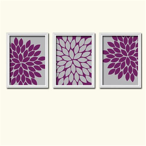purple bathroom wall art wall art canvas artwork grey eggplant purple flower by