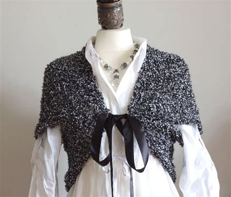 Black Knitted Bolero knit shrug in black and white bolero vest