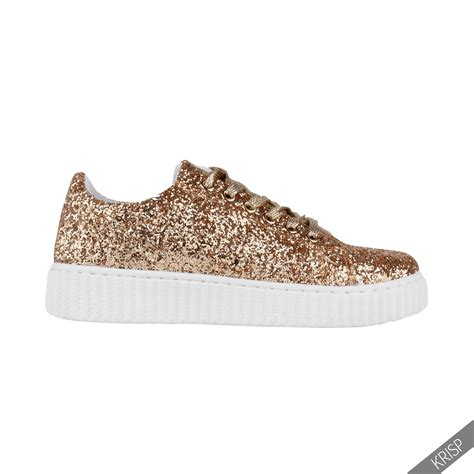 sneakers with glitter womens glitter retro creeper trainers flatforms