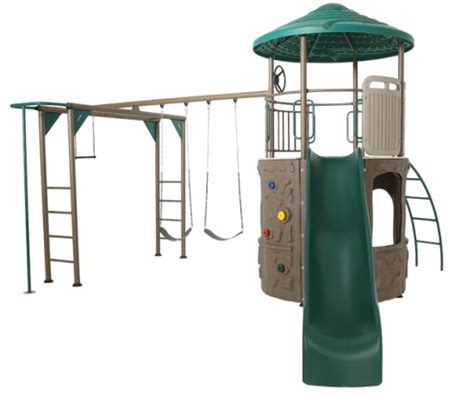 lifetime swing sets lifetime adventure tower deluxe swing set 90630