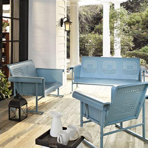 veranda outdoor furniture crosley furniture veranda 3 pc glider set caribbean blue