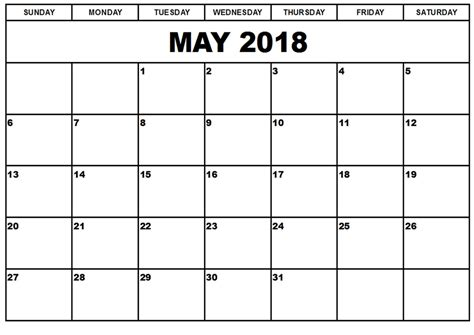 printable calendar 2018 with pictures may 2018 printable calendar templates