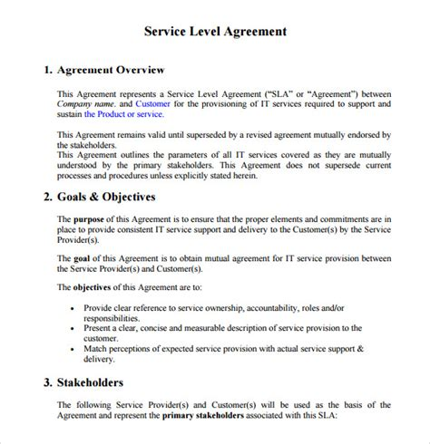 service level agreements templates sle service level agreement 13 exle format