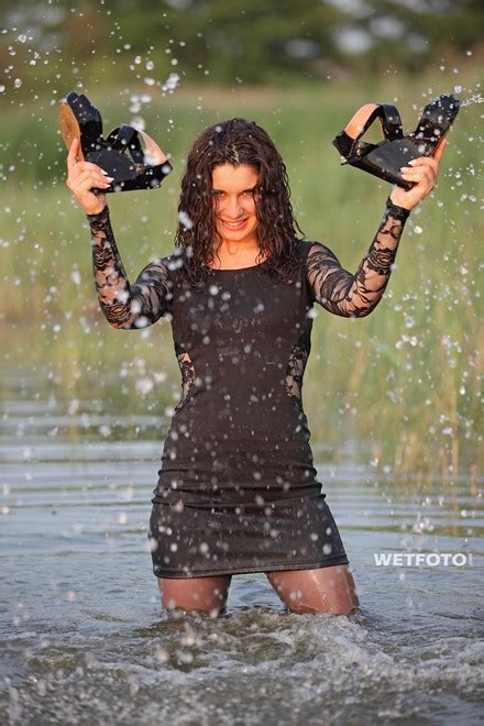 wetlook  curly girl  sexy black dress stockings
