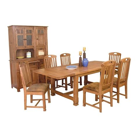 Sunny Designs Rustic Oak Dining Room Table 6 Chairs Two Dining Table Hutch