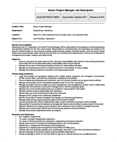 sle project manager description 9 exles in pdf word